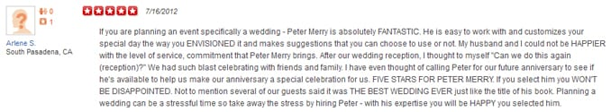 Arlene S' Yelp Review of her Wedding Entertainment Director®, Peter Merry with MERRY WEDDINGS.