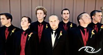 Andrew with his Groomsmen looking several different directions at Arroyo Trabuco Golf Club in Mission Viejo, CA. (Photo Credit: Jeffrey Neal Photography)