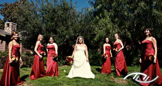 Megan with her Bridesmaids in the sunlight at Arroyo Trabuco Golf Club in Mission Viejo, CA. (Photo Credit: Jeffrey Neal Photography)