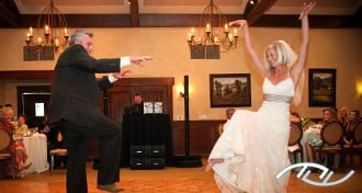 Amy and her Father, Jerry, are surprising their guests with a fun, choreographed Father/Daughter Dance at Arroyo Trabuco Golf Club in Mission Viejo, CA. Click this photo to see their dance on YouTube. (Photo Credit: Rani Lu Photography)