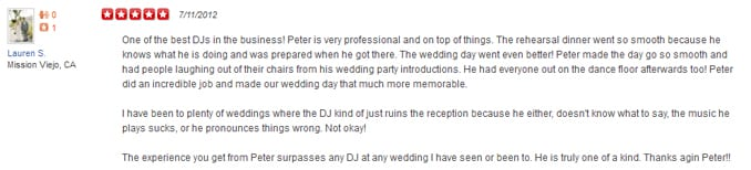Lauren S' Yelp Review of her Wedding Entertainment Director®, Peter Merry with MERRY WEDDINGS.